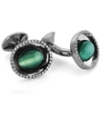 Tateossian London 18 Karat Precious Cufflinks - Tourmaline Catseye, White Diamond & White Gold CL1241 -  18k Carat Gold Cufflinks | Sam's Tailoring Fine Men's Clothing
