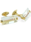 Tateossian London 18 Karat Precious Cufflinks - Quartz with Orange inclusions & Yellow Gold CUF0091 - 18k Carat Gold Cufflinks | Sam's Tailoring Fine Men's Clothing