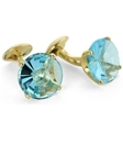 Tateossian London 18 Karat Precious Cufflinks - Blue Topaz Chalice Cut & Yellow Gold CUF1561 - 18k Carat Gold Cufflinks | Sam's Tailoring Fine Men's Clothing