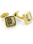 Tateossian London 18 Karat Precious Cufflinks - Gold Rutilated Quartz & Yellow Gold CUF1563 - 18k Carat Gold Cufflinks | Sam's Tailoring Fine Men's Clothing