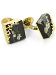 Tateossian London 18 Karat Precious Cufflinks - Slate Pyrite & Yellow Gold CUF0476 - 18k Carat Gold Cufflinks | Sam's Tailoring Fine Men's Clothing