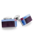 Tateossian London RT Tablet Tartan - Purple CL2700 - Cufflinks | Sam's Tailoring Fine Men's Clothing