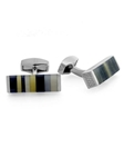 Tateossian London RT Tablet Striped - Black and White CL2693 - Cufflinks | Sam's Tailoring Fine Men's Clothing