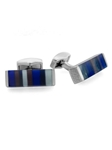 Tateossian London RT Tablet Striped - Shades of Blue CL2691 - Cufflinks | Sam's Tailoring Fine Men's Clothing