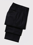 Hart Schaffner Marx Gabardine Navy Double Pleat Trouser 535215466719 - Trousers | Sam's Tailoring Fine Men's Clothing