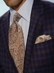 Robert Talbott Navy and Brown Plaid Carmel 2 Button Sport Coat C14ECRJ0-01 - Custom Suits and Sportcoats | Sam's Tailoring Fine Men's Clothing