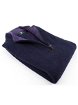 Robert Talbott Navy Boucle 14 Zip Mock LS621-06 - Fall 2013 Collection Sweater and Polo | Sam's Tailoring Fine Men's Clothing
