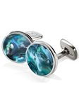 M-Clip Green Abalone Bordered Round Cufflinks SS-CLB-GNAB - Bordered Round Cufflinks | Sam's Tailoring Fine Men's Clothing