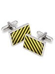 M-Clip Black and Yellow Inlay Cufflinks SS-CLS-BKYL - Team Colors Cufflinks | Sam's Tailoring Fine Men's Clothing