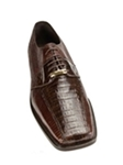 Belvedere Veneto Brown Crocodile Vamp with Lizard Square Toe Shoes 322 - Shoes | Sam's Tailoring Fine Men's Clothing