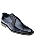 Belvedere Navy Pisa Genuine Ostrich and Italian Calf Leather Shoes 4E1 - Fall 2015 Collection Shoes | Sam's Tailoring Fine Men's Clothing
