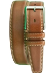 Cognac Shaped Leather Belt With Contrast BL109-02 - Robert Talbott Belts and Straps | Sam's Tailoring Fine Men's Clothing