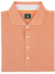 Robert Talbott Apricot The Drake Short Sleeve 4-Button Polo Shirt PK372-05 - Polos and Tees | Sam's Tailoring Fine Men's Clothing
