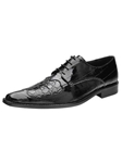 Belvedere Black Dotto Genuine Crocodile and Eel Leather Shoes 3N0 - Fall 2014 Shoe Collection | Sam's Tailoring Fine Men's Clothing