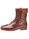 Belvedere Brandy Antique Brown Vibo Genuine Hornback Crocodile Tail and Ostrich Leather Boots 490 - Fall 2015 Collection Boots and Lug Rubber Soles | Sam's Tailoring Fine Men's Clothing