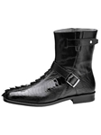 Belvedere Black Vibo Genuine Hornback Crocodile Tail and Ostrich Leather Boots 490 - Fall 2015 Collection Boots and Lug Rubber Soles | Sam's Tailoring Fine Men's Clothing
