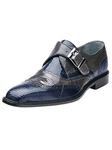 Belvedere Navy Gray Pasta Genuine Lizard Leather Shoes 1450 - Fall 2015 Collection Shoes | Sam's Tailoring Fine Men's Clothing