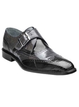 Belvedere Black Gray Pasta Genuine Lizard Leather Shoes 1450 - Fall 2015 Collection Shoes | Sam's Tailoring Fine Men's Clothing