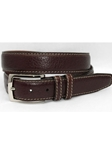 Torino Leather Brown American Bison Belt 55051 - Exotic Belts | Sam's Tailoring Fine Men's Clothing