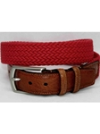 Torino Leather Italian Woven Cotton Elastic Belt - Red 69505 - Resort Casual Belts | Sam's Tailoring Fine Men's Clothing