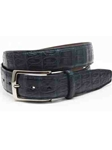 Torino Leather Navy South American Caiman Belt 50382 - Holiday 2014 Collection Exotic Belts | Sam's Tailoring Fine Men's Clothing