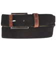 Black Suede Belt with Leather Contrast BL118-01 - Robert Talbott Belts and Straps | Sam's Tailoring Fine Men's Clothing