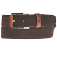 Dark Brown Suede Belt with Leather Contrast BL118-02 - Robert Talbott Belts and Straps | Sam's Tailoring Fine Men's Clothing