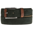 Dark Green Suede Belt with Leather Contrast BL118-04 - Robert Talbott Belts and Straps | Sam's Tailoring Fine Men's Clothing
