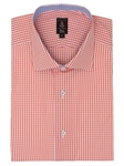 Robert Talbott Peach White with Check Design Spread Collar Cotton Estate Dress Shirt F2656ISV-27 - Spring 2015 Collection Dress Shirts | Sam's Tailoring Fine Men's Clothing