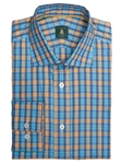 Robert Talbott Lapis with Plaid Check Design Wide Spread Collar Trim Fit Cotton Crespi III Sport Shirt TSM15S25-01 - Spring 2015 Collection Sport Shirts | Sam's Tailoring Fine Men's Clothing