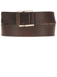 Dark Brown with Tonal Stitching Calf and Suede Leather Belt BL122-02 - Robert Talbott Belts and Straps | Sam's Tailoring Fine Men's Clothing
