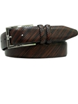 Bill Lavin Brown Feathered Edge Diagonal Righello Belt 3-0072 - Soft Collection Belts | Sam's Tailoring Fine Men's Clothing
