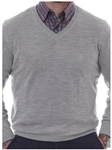 Robert Talbott Silver Merino Silk V-Neck Pasadera Sweater LS716-01 - Fall 2015 Collection Sweaters | Sam's Tailoring Fine Men's Clothing