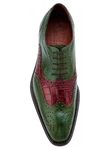 Belvedere Antique Emerald Sesto Hand Painted Genuine Alligator and Italian Calf Shoes 1B8 - Fall 2015 Collection | Sam's Tailoring Fine Men's Clothing