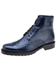 Belvedere Antique Navy Vito Rubber Sole Boot with Antique Italian Leather and Genuine Alligator G14 - Fall 2015 Collection Boots and Lug Rubber Soles | Sam's Tailoring Fine Men's Clothing