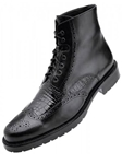 Belvedere Black Vito Rubber Sole Boot with Antique Italian Leather and Genuine Alligator G14 - Fall 2015 Collection Boots and Lug Rubber Soles | Sam's Tailoring Fine Men's Clothing