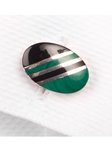 Robert Talbott Malachite Green Regimental Oval Sterling Cuff Link LC1258-03 - Fall 2015 Collection Cuff Links | Sam's Tailoring Fine Men's Clothing