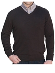 Robert Talbott Espresso Merino Silk V-Neck Pasadera Sweater LS716-03 - Fall 2015 Collection Sweaters | Sam's Tailoring Fine Men's Clothing