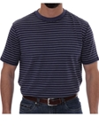 Robert Talbott Navy Stripe Turner Peached Jersey T-Shirt PK401-08 - Spring 2016 Collection Polo | Sam's Tailoring Fine Men's Clothing