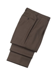 Wool Pleated Brown Traveler Trouser | Hickey FreeMan Trousers Collection | Sams Tailoring
