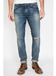Medium Blue Pick Stitch Dean Skinny Jean - Legend |  Eight Field of Freedom Skinny Jeans Collection 2016 | Sams Tailoring