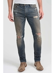 Vintage Blue Pick Stitch Dean Skinny Jean - Express Train |  Eight Field of Freedom Skinny Jeans Collection 2016 | Sams Tailoring