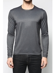 Dark Grey Crew Neck Long Sleeve T-Shirt |  Eight Field of Freedom Knitwear Collection  2016 | Sams Tailoring