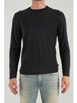 Black Crew Neck Long Sleeve T-Shirt |   Eight Field of Freedom Men's Collection  2016 | Sams Tailoring