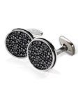 Black Stingray Bordered Round Cufflink | M-Clip New Cufflinks Collection 2016 | Sams Tailoring