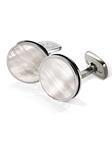 White Mother of Pearl Bordered Round Cufflinks | M-Clip New Cufflinks Collection 2016 | Sams Tailoring