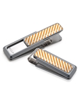 White & Orange Inlay Money Clip | M-Clip New Money Clip | Sams Tailoring