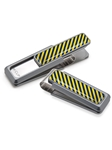 Yellow & Dark Blue Inlay Money Clip  | M-Clip New Money Clip | Sams Tailoring
