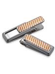 White & Dark Orange Inlay Money Clip  | M-Clip New Money Clip | Sams Tailoring