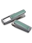 White & Dark Green Inlay Money Clip  | M-Clip New Money Clip | Sams Tailoring